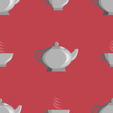 Pattern of the teapot and cups. Cup and teapot on a red background. It can be used as a seamless texture or background Royalty Free Stock Photo