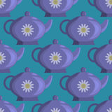Pattern teapot. Tea on a blue background. It can be used as a background or texture Stock Images