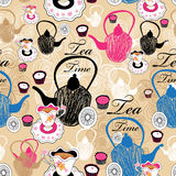 Pattern teapots and cups with tea Royalty Free Stock Photo