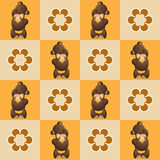 A pattern of Teddy bears and flowers in squares. Stock Photo