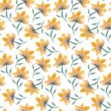 Pattern with tender watercolor orange flowers stock illustration