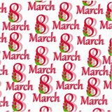 A pattern from the letter of March 8. Pattern from the text on March 8 with tulips on a white background Royalty Free Stock Photography
