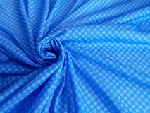 Pattern, texture, background, wallpaper. Soft blue and white cotton sample with geometrical ornament stock photography