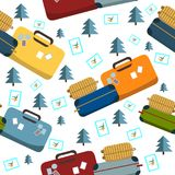Pattern texture with travel colorfull suitcase, tree and stamp design vector illustration, travel style vector illustration