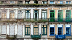 Pattern texture windows in Portugal. Typical 18th century building facade in Porto, Portugal Royalty Free Stock Images
