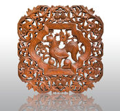 Pattern Thai art carving on wood, chicken Royalty Free Stock Image