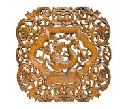 Pattern Thai art carving on wood, King of Nagas Royalty Free Stock Photo