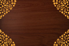 Pattern thai carve gold on wood texture Royalty Free Stock Photos
