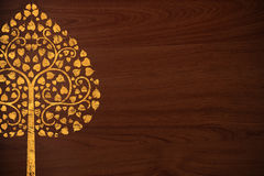 Pattern Thai Carve Tree Gold On Wood Texture Stock Photography