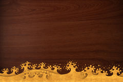 Pattern thai carve wave gold on wood texture Royalty Free Stock Image