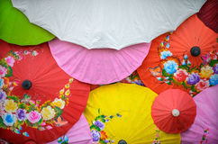 Pattern of thai colorful umbrellas Royalty Free Stock Photography