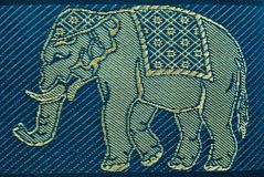 PATTERN THAI SILK  BIG BLUE ELEPHANT Royalty Free Stock Images