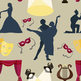Pattern of theatre acting performance icons Stock Image