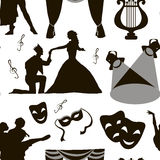 Pattern of theatre acting performance icons Royalty Free Stock Images