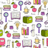 Pattern on the theme of books and education Stock Photos