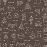 Pattern on the theme of fast food on brown color Royalty Free Stock Image