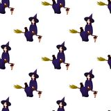 Pattern on a theme of a halloween with lovely witches, magicians. A seamless pattern for the holiday of Halloween from simple forms and contours with mystical Royalty Free Stock Photo