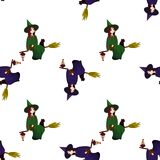 Pattern on a theme of a halloween with lovely witches, magicians. A seamless pattern for the holiday of Halloween from simple forms and contours with mystical Stock Photography