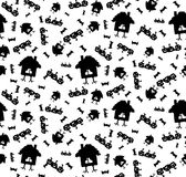 Pattern on the theme of Halloween with pumpkins and a house on chicken legs in black and white. A seamless pattern for Halloween with pumpkins, flying mice and Royalty Free Stock Photo