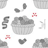 Pattern on the theme of sewing and knitting royalty free illustration