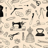 Pattern of the theme of sewing Stock Images