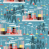 Pattern of thermal and wind power Stock Photo