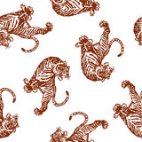 Pattern of tiger. I drew a tiger in the technique of the Japanese traditional painting Stock Photo
