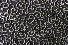 Pattern tissue. Image for background from a fabric pattern black and silver Royalty Free Stock Images