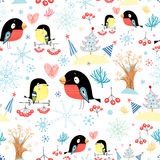 Pattern titmouse and bullfinch Stock Photo