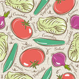 Pattern with tomato, cucumber, salad and onions Royalty Free Stock Images