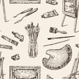 Pattern of the tools for painting Stock Images