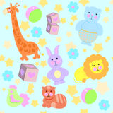 Pattern toys from fabric vector. Background toys from fabric vector Royalty Free Stock Photo