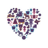 Pattern toys in heart shape. Illustration Royalty Free Stock Images