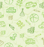 Pattern with toys on a light green background. Pattern with line drawing toys on a light green background Royalty Free Stock Photo