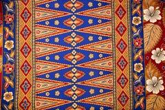 Pattern on Traditional Batik Sarong. Bright blue floral motif of traditional Batik sarong Stock Images