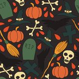 Pattern with traditional halloween elements Stock Photos