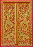 Pattern in traditional Thai style art  on door. Pattern in traditional Thai style art  on door of the temple Royalty Free Stock Photography