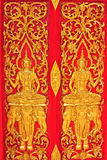 Pattern in traditional Thai style. Art painting on window of the temple Royalty Free Stock Image