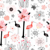 Pattern of trees and birds Royalty Free Stock Photography