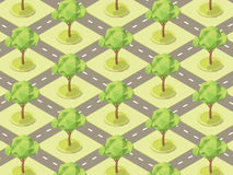 Pattern With Trees In The Parks Between Roads. Vector Illustrati Stock Images