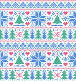 Pattern with trees and snowflakes Royalty Free Stock Photos