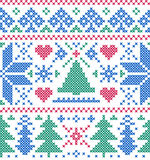 Pattern with  trees and snowflakes Stock Photo