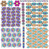 Pattern and trim set with flowers and hearts Stock Image