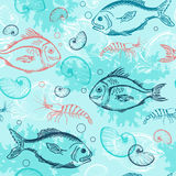 Pattern with tropical fishes Stock Photos