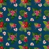 Pattern with tropical flowers and leaves. Watercolor illustration. stock photography