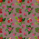Pattern with tropical flowers and leaves. Watercolor illustration. royalty free stock photo