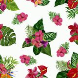 Pattern with tropical flowers and leaves. Watercolor illustration. stock photo