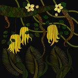 Pattern with tropical plants, flowers and citron Royalty Free Stock Images
