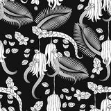 Pattern with tropical plants, flowers and citron Royalty Free Stock Photography