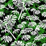 Pattern with tropical trees and leaves Stock Image